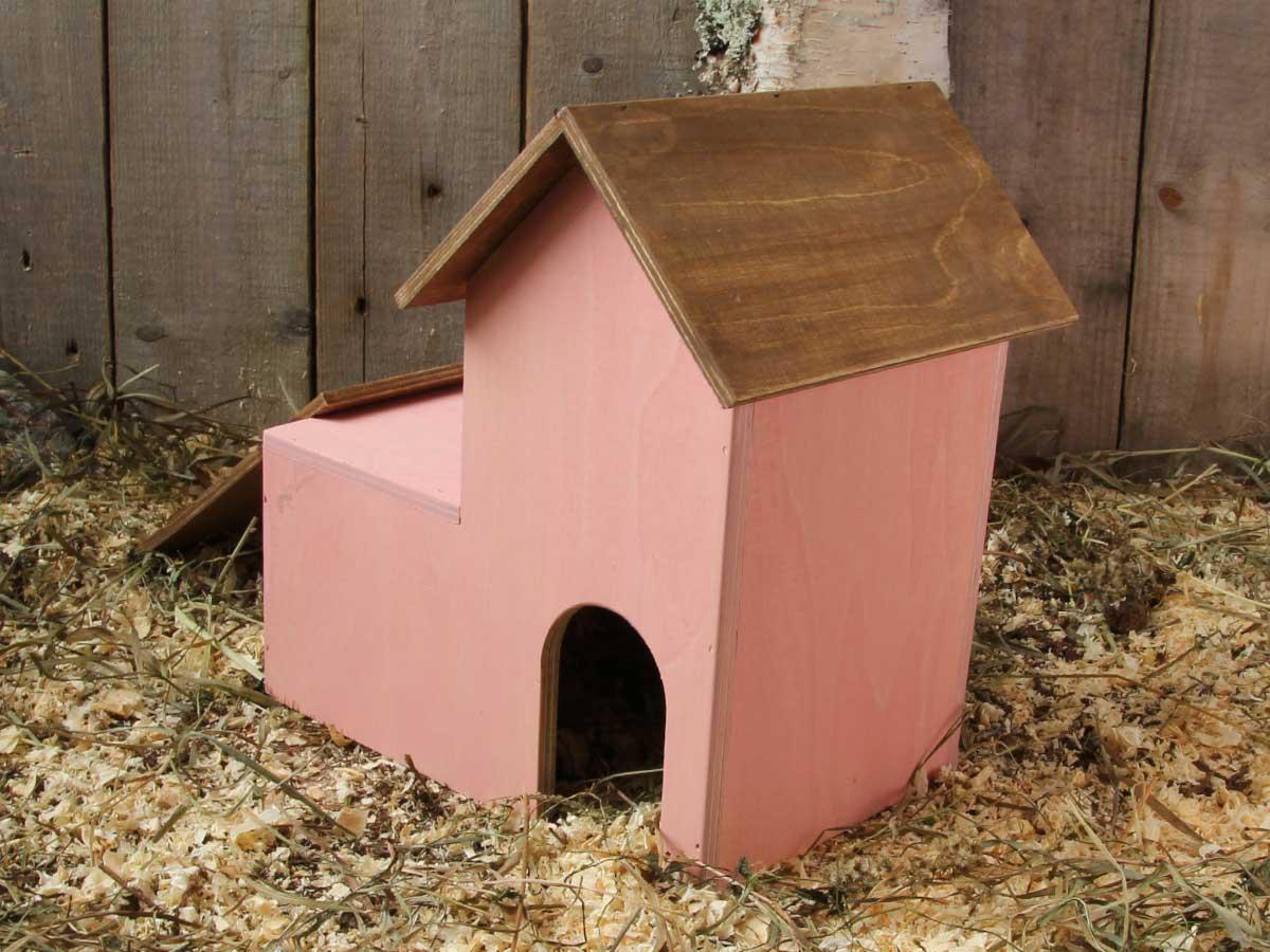 Hamsterin harjakattomökki. Kattotasanteella harjakattoinen katos, jonne pääsee juoksusiltaa pitkin.