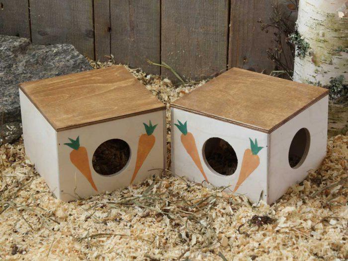 Hamsterin hauska talo, kuution muotoinen, koristeltu porkkanan kuvilla.